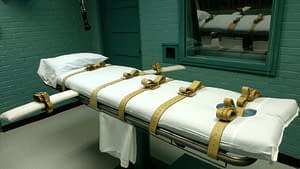 Lethal injection death bed with straps
